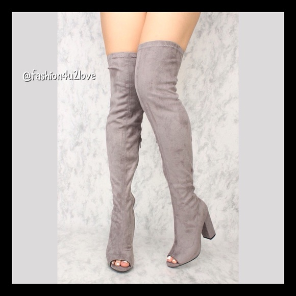45e2115591c8 Grey Thigh High Boots Open Toe Chunky Heels